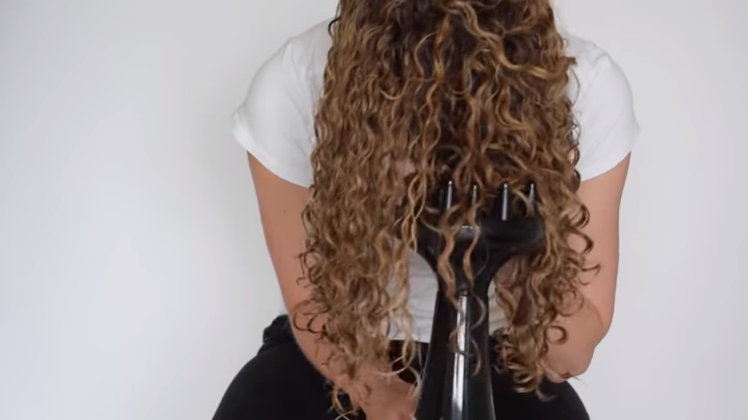 Blow drying curly hair